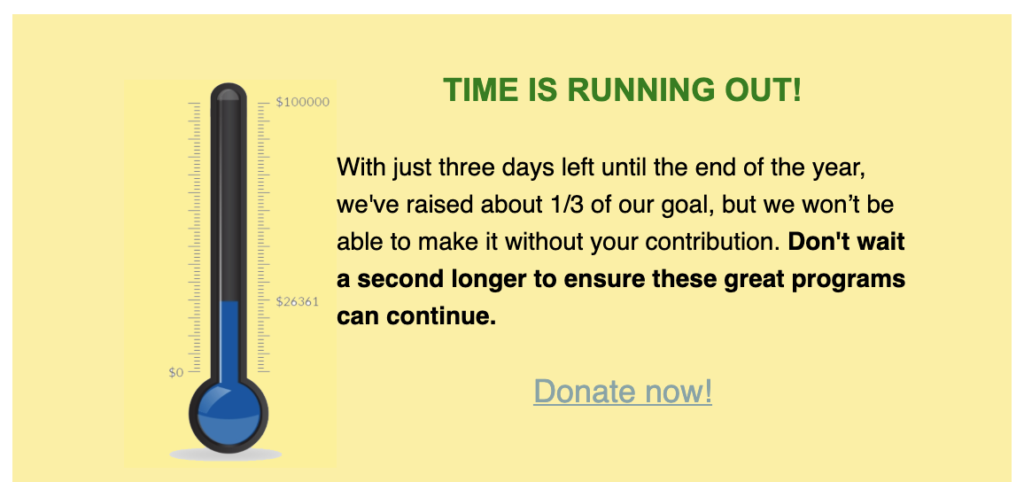 time is running out to donate message
