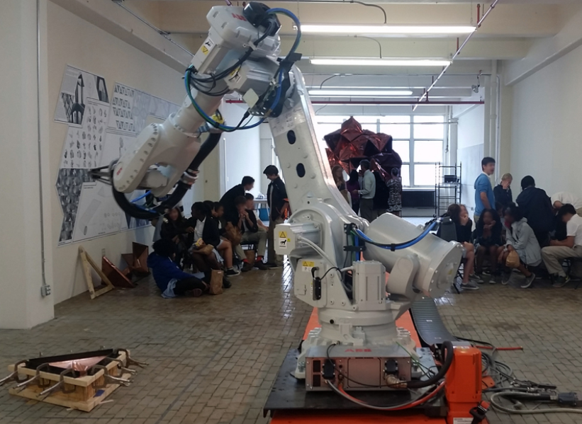 students with large robot